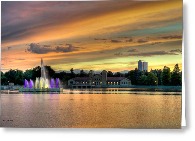 City Park Fountain at Sunset Greeting Card by Stephen  Johnson