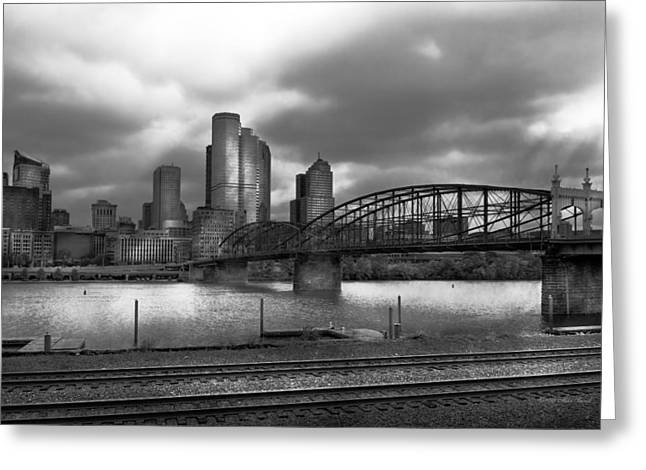 Commercial Photography Greeting Cards - City - Pittsburgh PA - Smithfield Bridge BW Greeting Card by Mike Savad