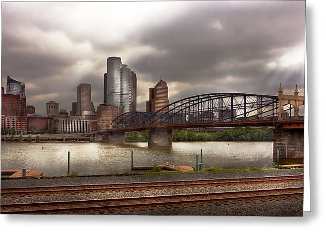 Commercial Photography Greeting Cards - City - Pittsburgh PA - Smithfield Bridge  Greeting Card by Mike Savad