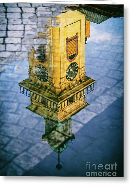 City Reflections Greeting Card by Mariola Bitner