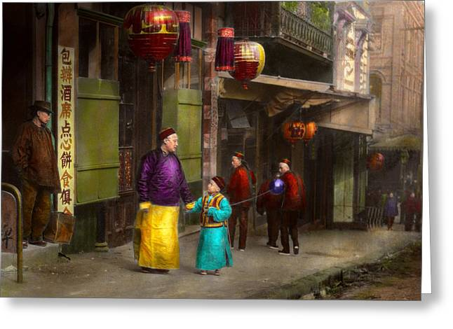 Vintage Greeting Cards - City - San Francisco - Chinatown - Visiting the commoners 1896-06 Greeting Card by Mike Savad