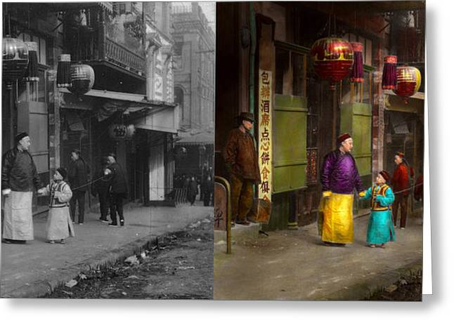 Henchman Photographs Greeting Cards - City - San Francisco - Chinatown - Visiting the commoners 1896-06 - Side by Side Greeting Card by Mike Savad