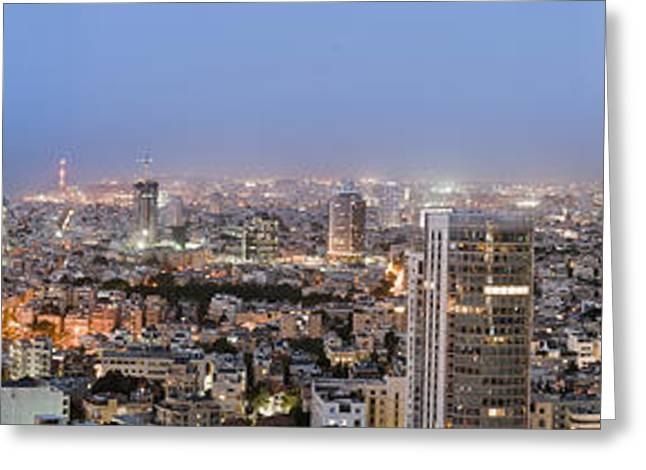 City Skyline At Night Greeting Card by Noam Armonn