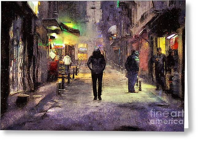 Winter Night Greeting Cards - City Snow Walk Greeting Card by Ian Mitchell