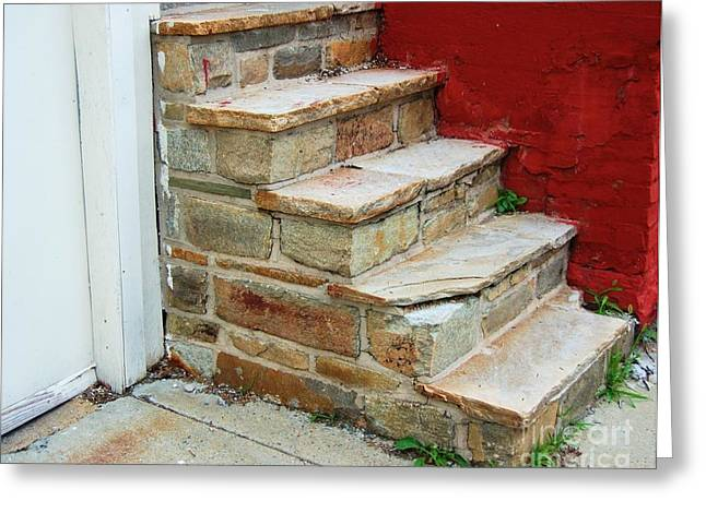 Flagstone Greeting Cards - City Steps Greeting Card by Debbi Granruth