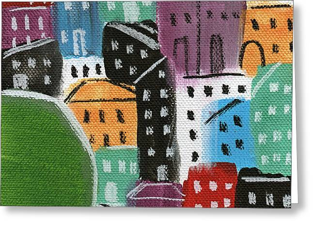 Red Buildings Mixed Media Greeting Cards - City Stories- By The Park Greeting Card by Linda Woods