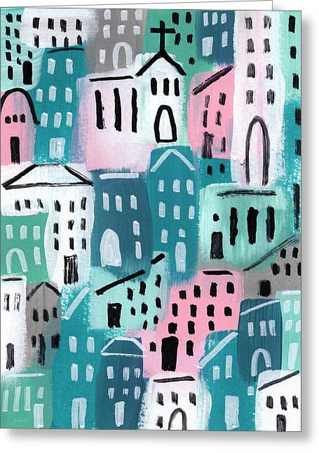 Church Greeting Cards - City Stories- Church On The Hill Greeting Card by Linda Woods