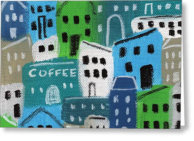 Naive Art Greeting Cards - City Stories- Coffee Shop Greeting Card by Linda Woods