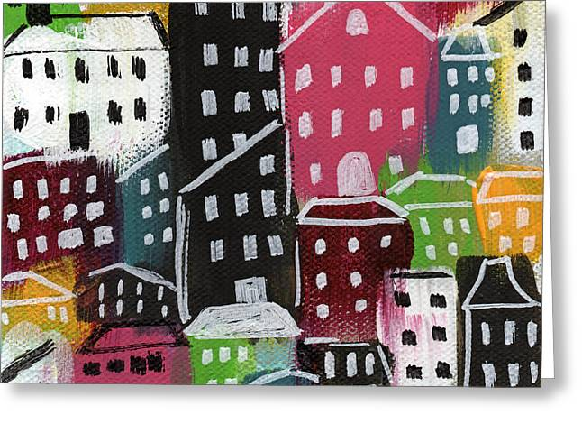 Red Buildings Mixed Media Greeting Cards - City Stories- Colorful Greeting Card by Linda Woods