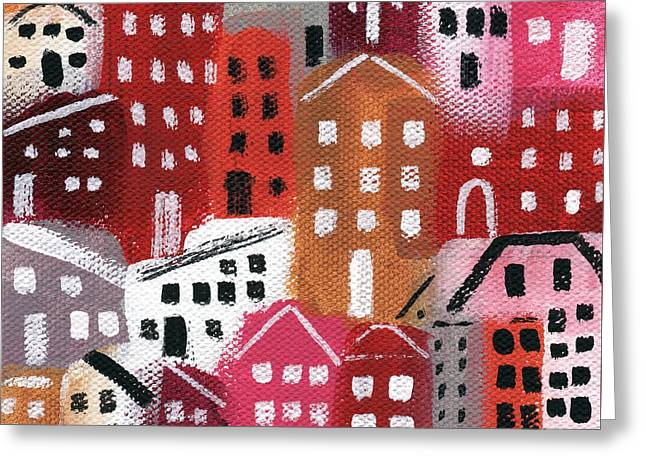 Red Buildings Mixed Media Greeting Cards - City Stories- Ruby Road Greeting Card by Linda Woods