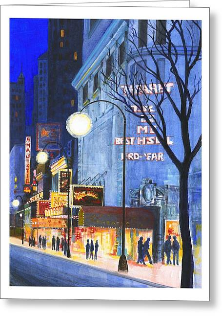 Streetlight Greeting Cards - City Street At Night Greeting Card by Gillham Studios