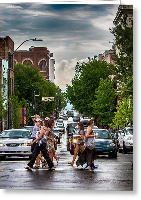 Crosswalk Greeting Cards - City Streets Greeting Card by John Haldane
