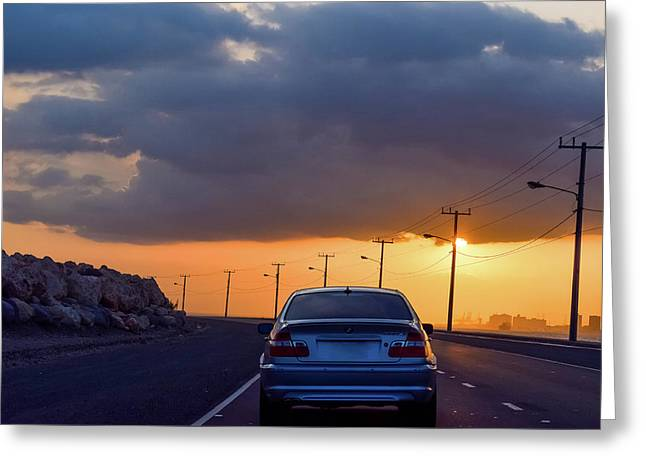 City Sunset Greeting Card by Debbie Ann Powell