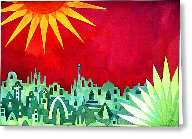 Mysterious Sun Greeting Cards - City under a Red Sky Greeting Card by Jennifer Baird