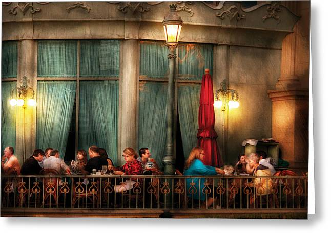 Night Lamp Greeting Cards - City - Vegas - Paris - The outdoor Cafe  Greeting Card by Mike Savad