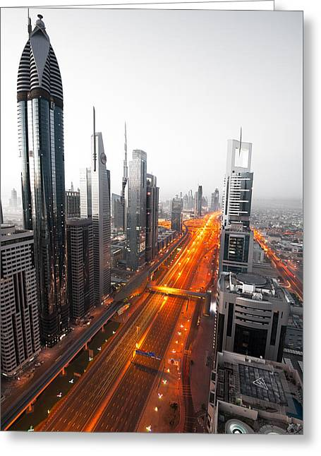 Ultra Modern Photographs Greeting Cards - City Veins Dubai Greeting Card by Andre Distel