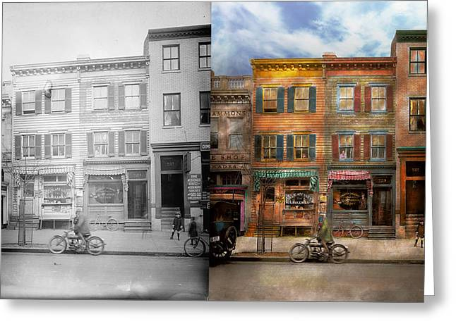 Run Down Greeting Cards - City -  Washington DC  - Ghosts of the past 1925 - Side by Side Greeting Card by Mike Savad