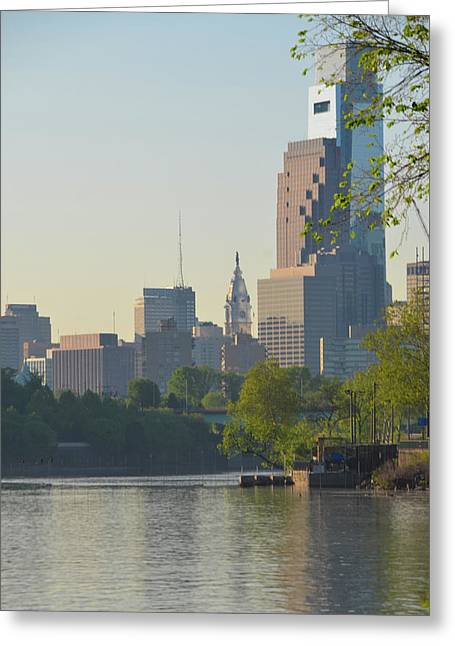Cityhall View From The Schuylkill River Greeting Card by Bill Cannon