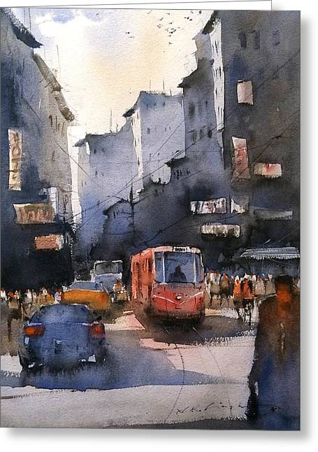 Cityscape Art Watercolor Greeting Card by Nitin Singh