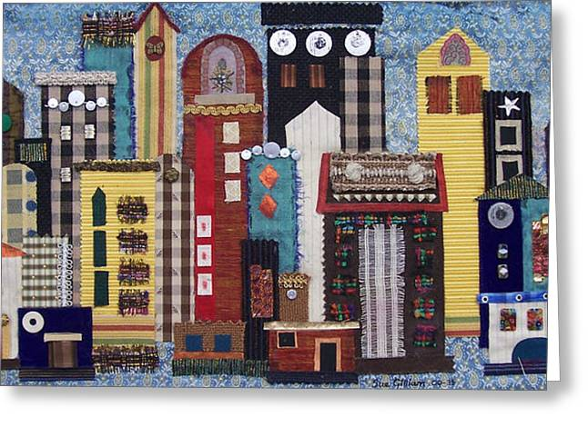 Cityscape Tapestries - Textiles Greeting Cards - Cityscape--Blue Greeting Card by Sue Gilliam