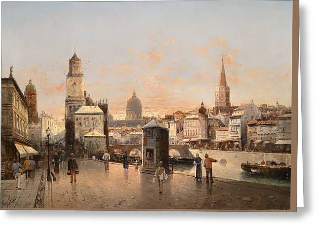 People Greeting Cards - Cityscape - Bustle On The River Greeting Card by August Von Siegen