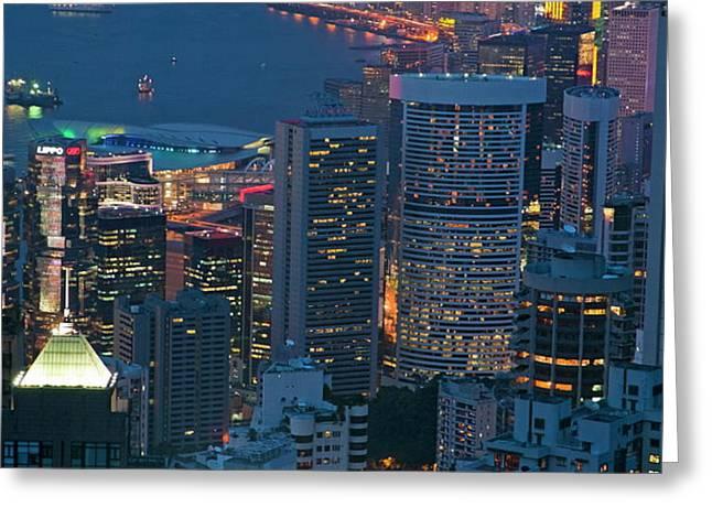Cityscape from Victoria Peak Greeting Card by Sami Sarkis