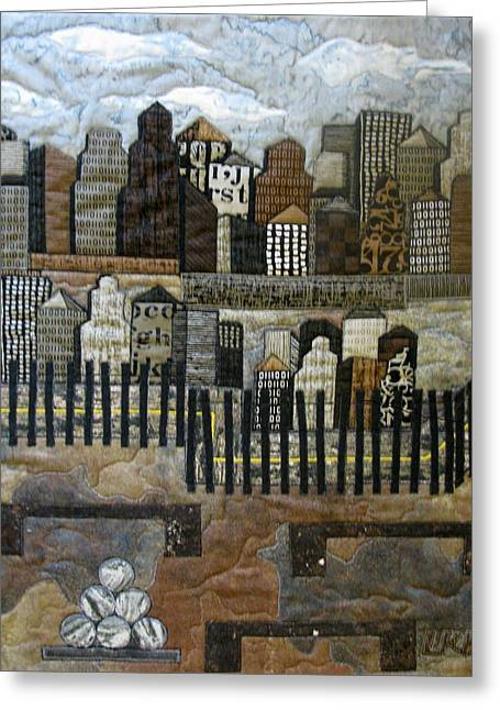 City Tapestries - Textiles Greeting Cards - Cityscape Greeting Card by Lynda K Boardman