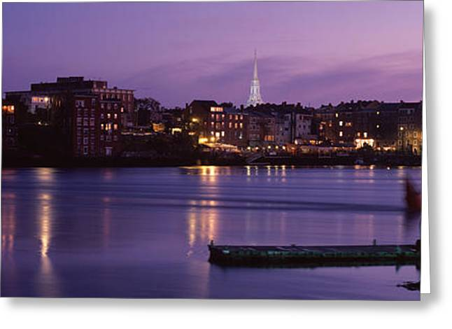 Cityscape Portsmouth Nh Usa Greeting Card by Panoramic Images