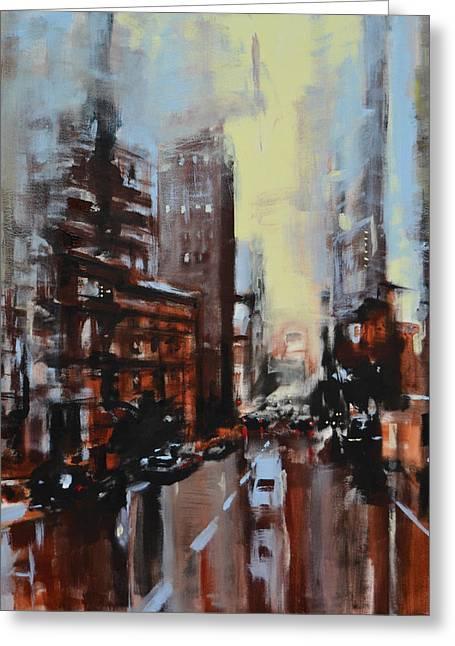 Town Mixed Media Greeting Cards - Cityscape001 Greeting Card by Michele Petrelli