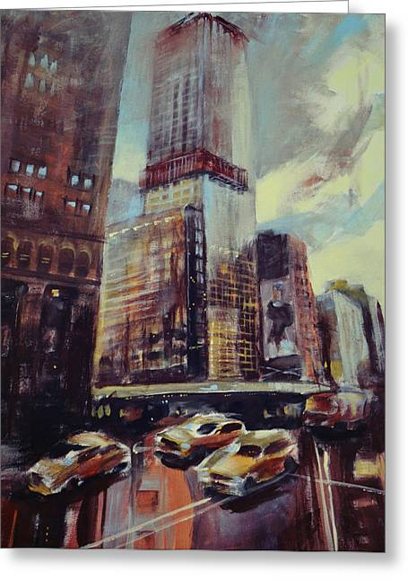 Town Mixed Media Greeting Cards - Cityscape002 Greeting Card by Michele Petrelli