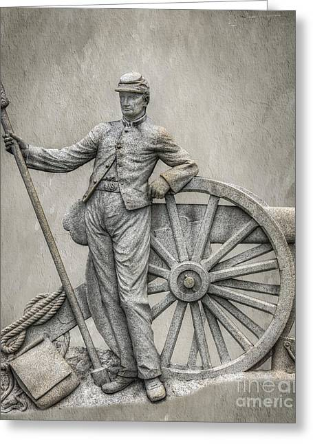 Stone Sentinel Greeting Cards - Civil war Cannon and Artilleryman Greeting Card by Randy Steele