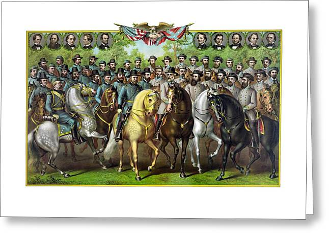 Hills Greeting Cards - Civil War Generals and Statesman Greeting Card by War Is Hell Store