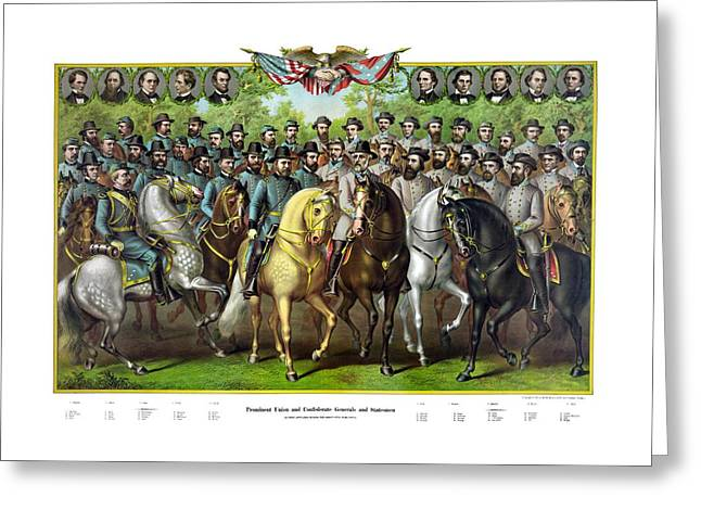 American Civil War Drawings Greeting Cards - Civil War Generals and Statesman With Names Greeting Card by War Is Hell Store