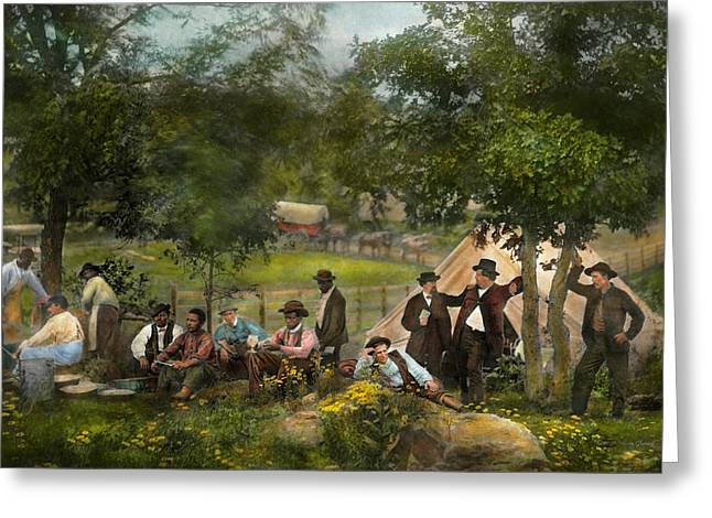 Person Greeting Cards - Civil War - Gettysburg camp of Captain Huft 1865 Greeting Card by Mike Savad