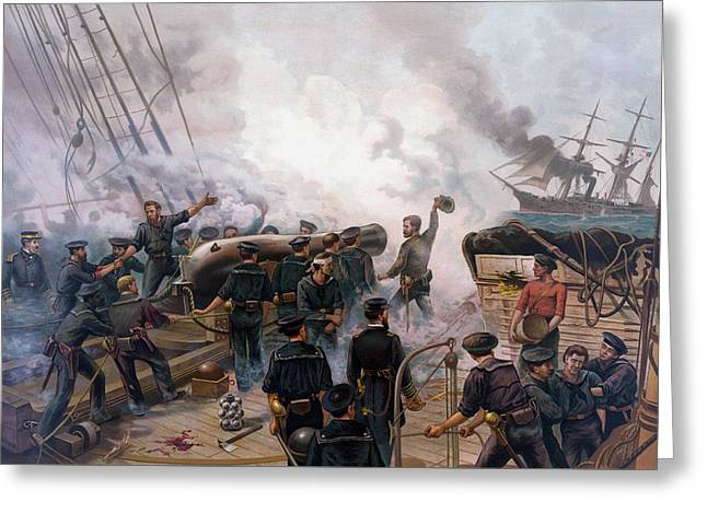 Civil Greeting Cards - Civil War Naval Battle - Kearsarge And Alabama  Greeting Card by War Is Hell Store