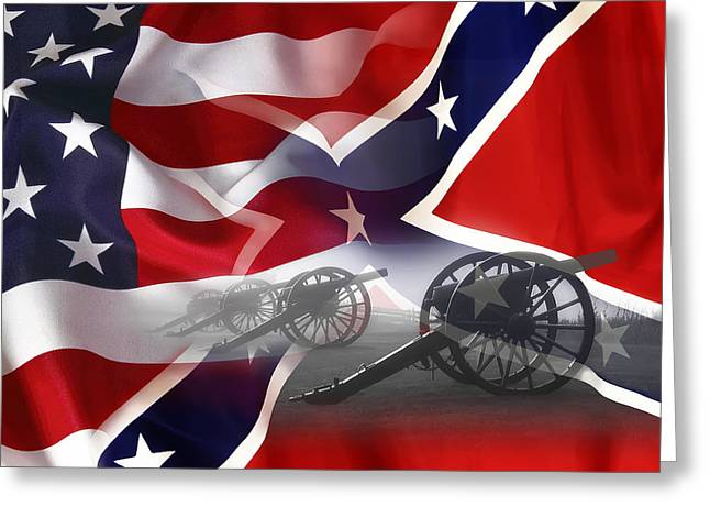 Recently Sold -  - Confederate Flag Greeting Cards - Civil War Silent Cannons Greeting Card by Daniel Hagerman