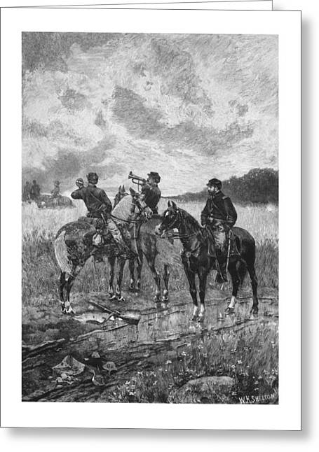 Civil Greeting Cards - Civil War Soldiers On Horseback Greeting Card by War Is Hell Store