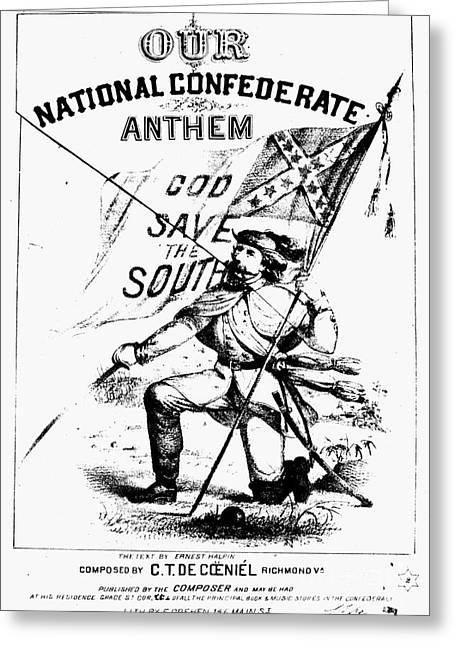 Confederate Flag Greeting Cards - CIVIL WAR: SONGSHEET, c1861 Greeting Card by Granger