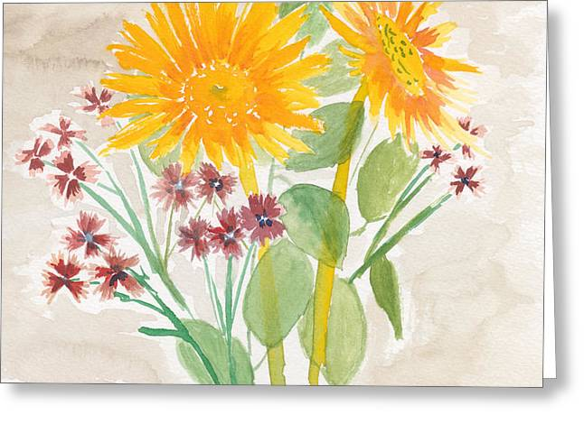 Recently Sold -  - Yellow Sunflower Greeting Cards - Claires Choice Greeting Card by Samuel Beckman