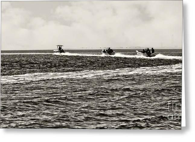 Clam Boats Panoramic Black And White Greeting Card by Tom Gari Gallery-Three-Photography