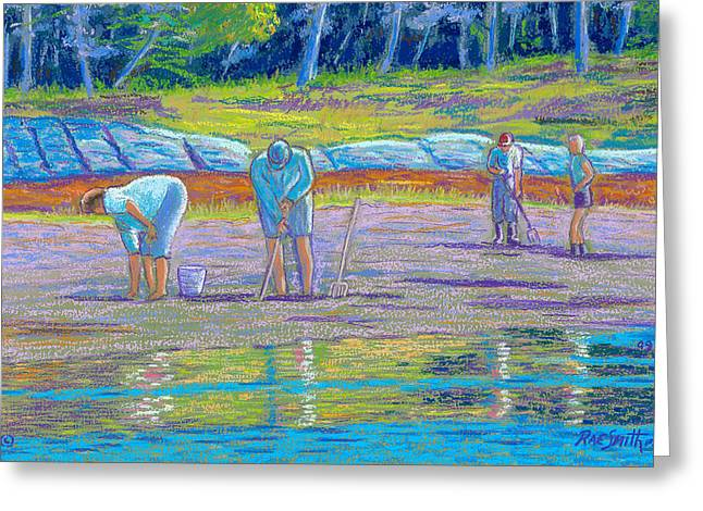 People Pastels Greeting Cards - Clam Diggers Greeting Card by Rae  Smith  PSC