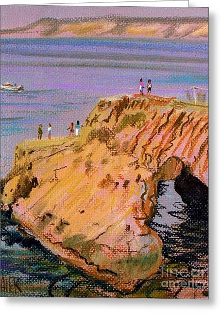 Plein Air Pastels Greeting Cards - Clam Rock Evening Greeting Card by Donald Maier