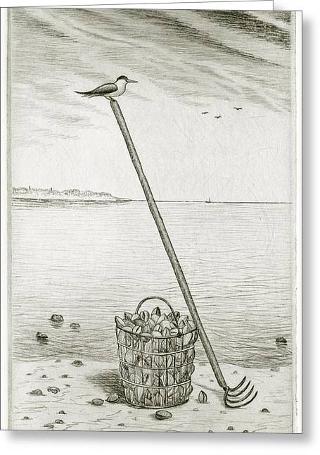 Drypoint Greeting Cards - Clamming Greeting Card by Charles Harden