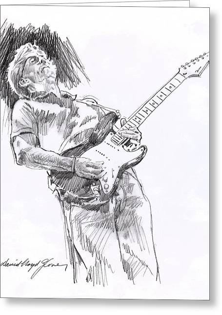 Eric Clapton Portrait Greeting Cards - Clapron Blues Down Greeting Card by David Lloyd Glover