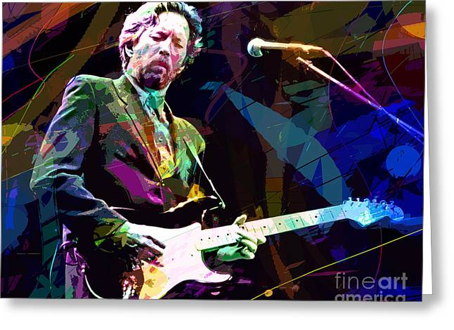 Musicians Paintings Greeting Cards - Clapton Live Greeting Card by David Lloyd Glover