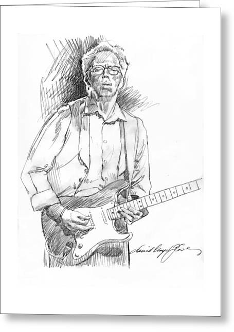 Player Drawings Greeting Cards - Clapton Riff Greeting Card by David Lloyd Glover