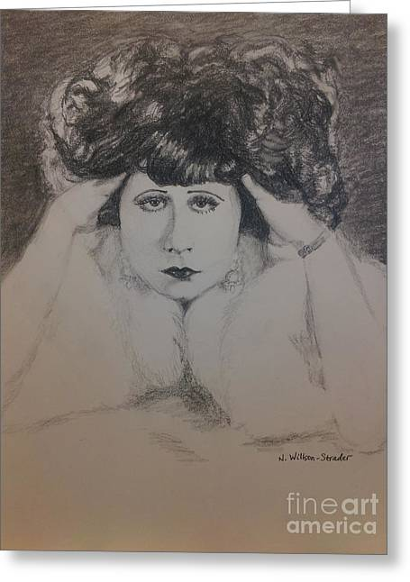 Starlet Drawings Greeting Cards - Clara Bow in Fur Greeting Card by N Willson-Strader