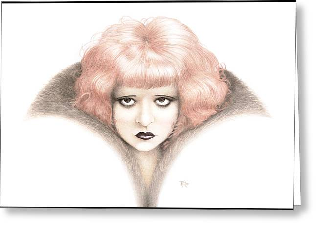 Classic Hollywood Paintings Greeting Cards - Clara Bow Opus Six Atomic Greeting Card by Paul Petro