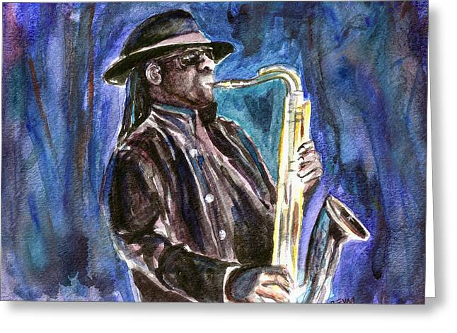 E Street Band Greeting Cards - Clarence Clemons Greeting Card by Clara Sue Beym