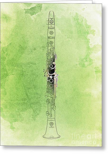 Home Decor Posters Mixed Media Greeting Cards - Clarinet 21 Jazz G Greeting Card by Pablo Franchi